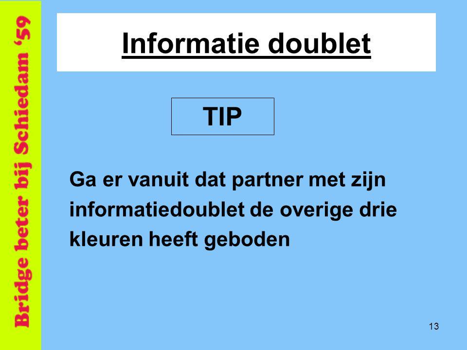 Informatie doublet TIP Ga er vanuit dat partner met zijn