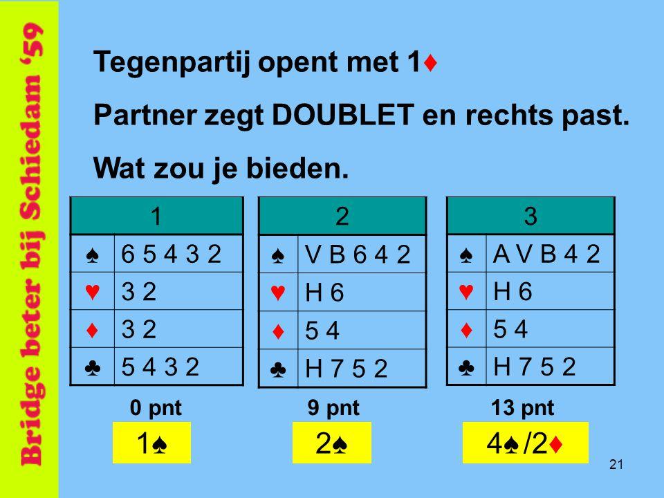 Tegenpartij opent met 1♦ Partner zegt DOUBLET en rechts past.