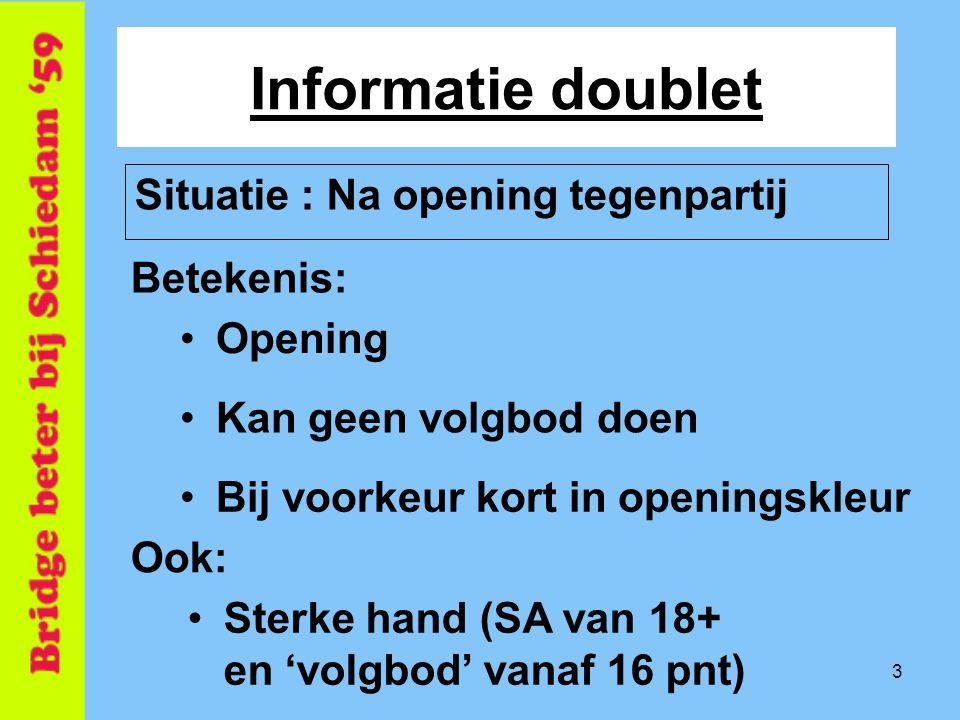 Informatie doublet Situatie : Na opening tegenpartij Betekenis: