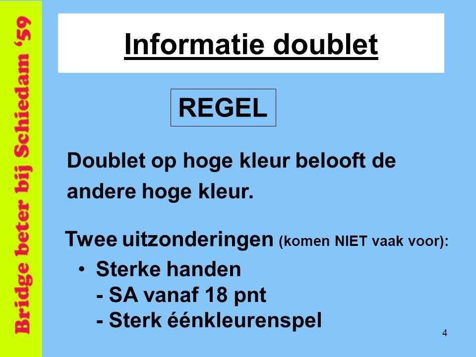 Informatie doublet REGEL Doublet op hoge kleur belooft de