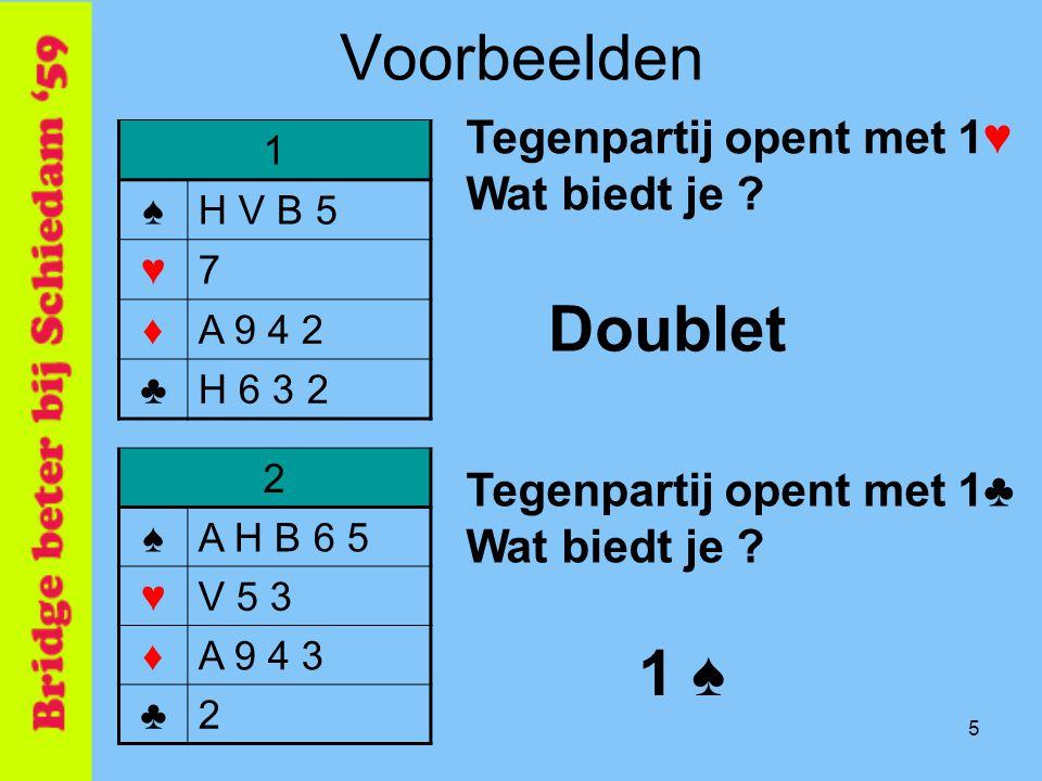 Voorbeelden Doublet 1 ♠ Tegenpartij opent met 1♥ Wat biedt je