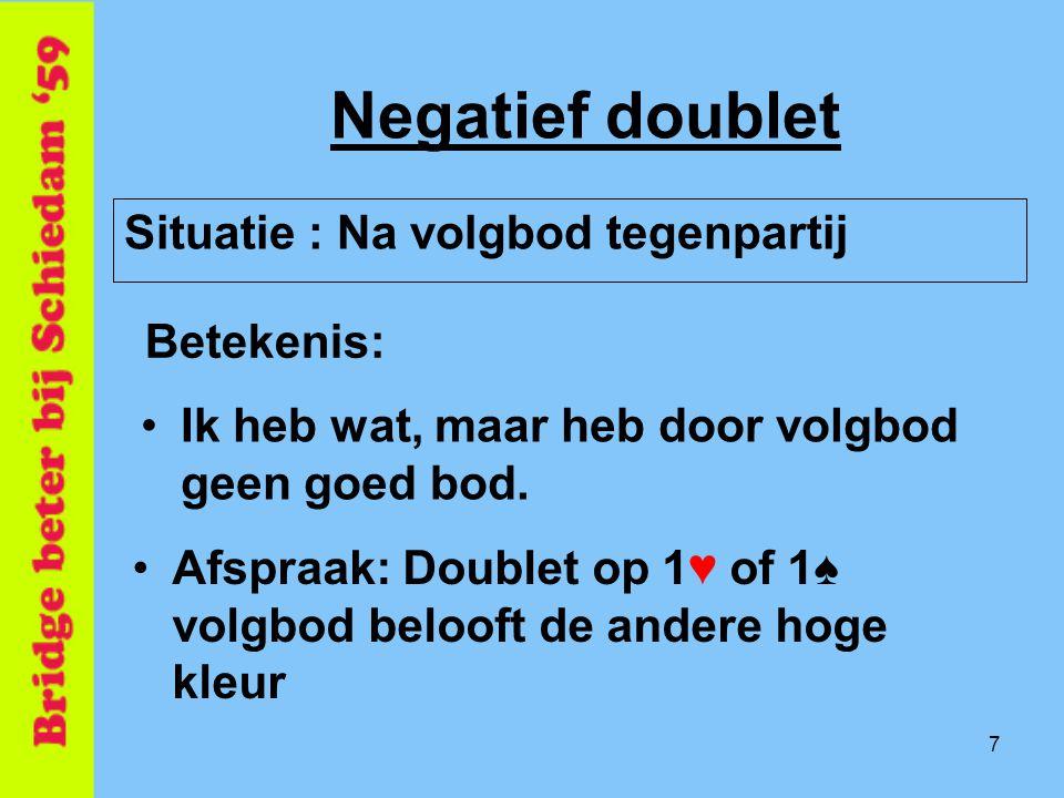 Negatief doublet Situatie : Na volgbod tegenpartij Betekenis: