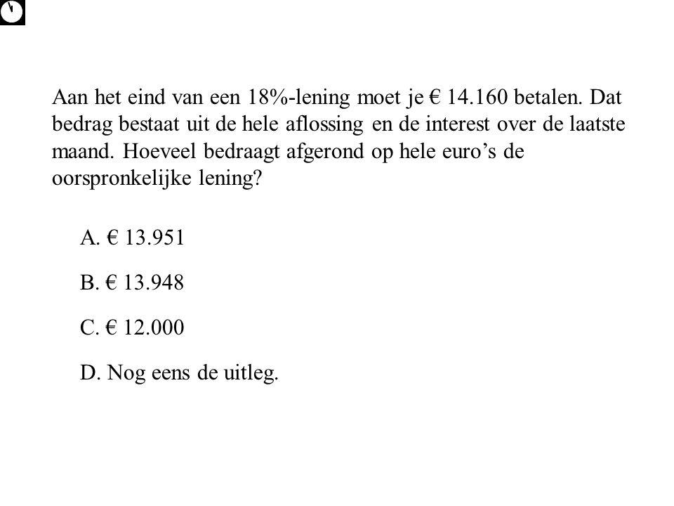 Aan het eind van een 18%-lening moet je € 14. 160 betalen