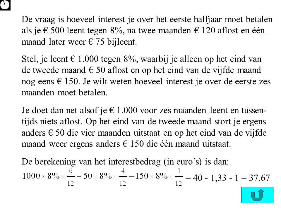 De vraag is hoeveel interest je over het eerste halfjaar moet betalen als je € 500 leent tegen 8%, na twee maanden € 120 aflost en één maand later weer € 75 bijleent.