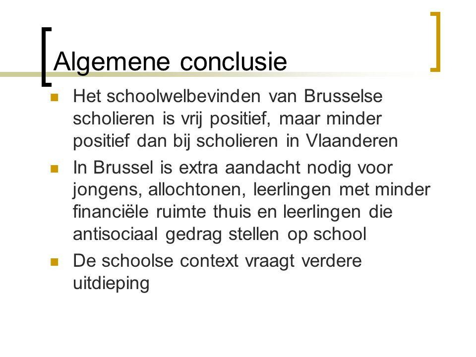 Algemene conclusie Het schoolwelbevinden van Brusselse scholieren is vrij positief, maar minder positief dan bij scholieren in Vlaanderen.