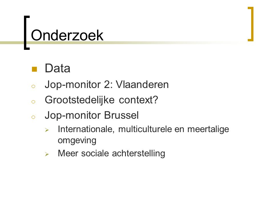 Onderzoek Data Jop-monitor 2: Vlaanderen Grootstedelijke context