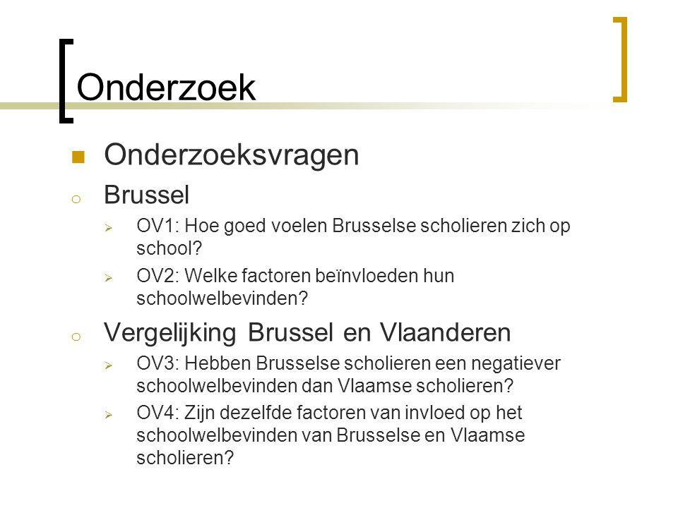 Onderzoek Onderzoeksvragen Brussel Vergelijking Brussel en Vlaanderen