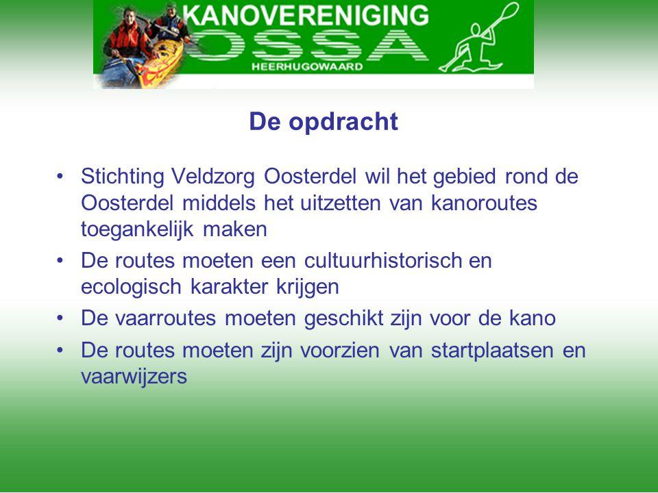 De opdracht Stichting Veldzorg Oosterdel wil het gebied rond de Oosterdel middels het uitzetten van kanoroutes toegankelijk maken.