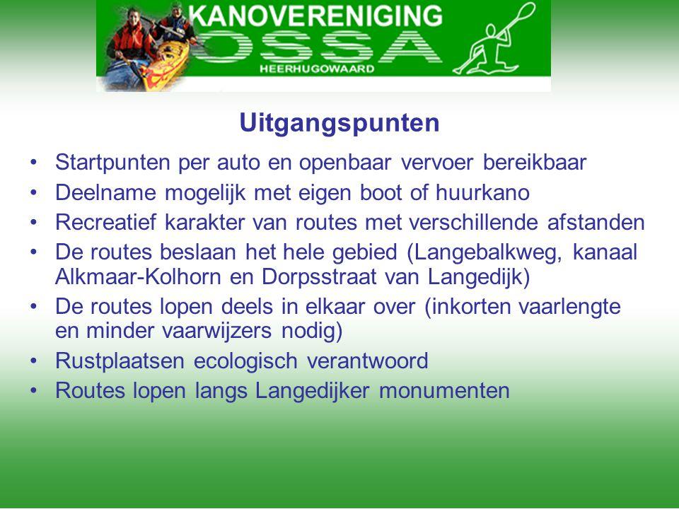 Uitgangspunten Startpunten per auto en openbaar vervoer bereikbaar
