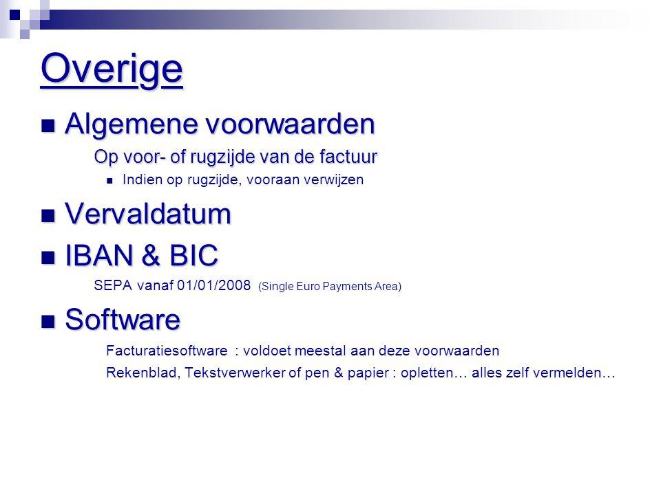 Overige Algemene voorwaarden Vervaldatum IBAN & BIC Software