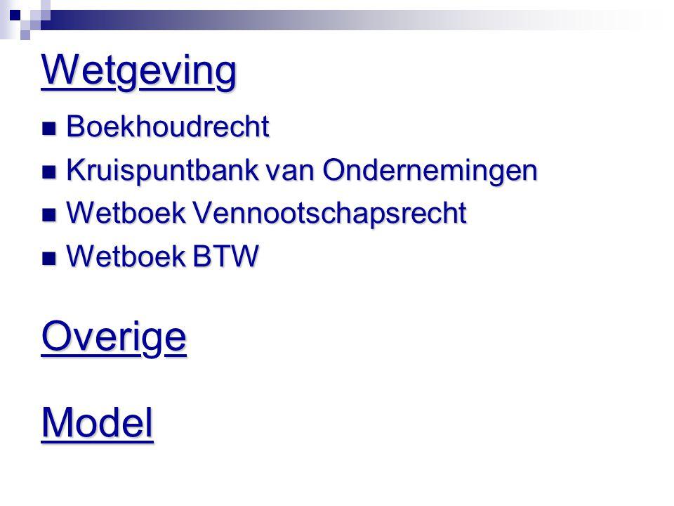 Wetgeving Overige Model Boekhoudrecht Kruispuntbank van Ondernemingen