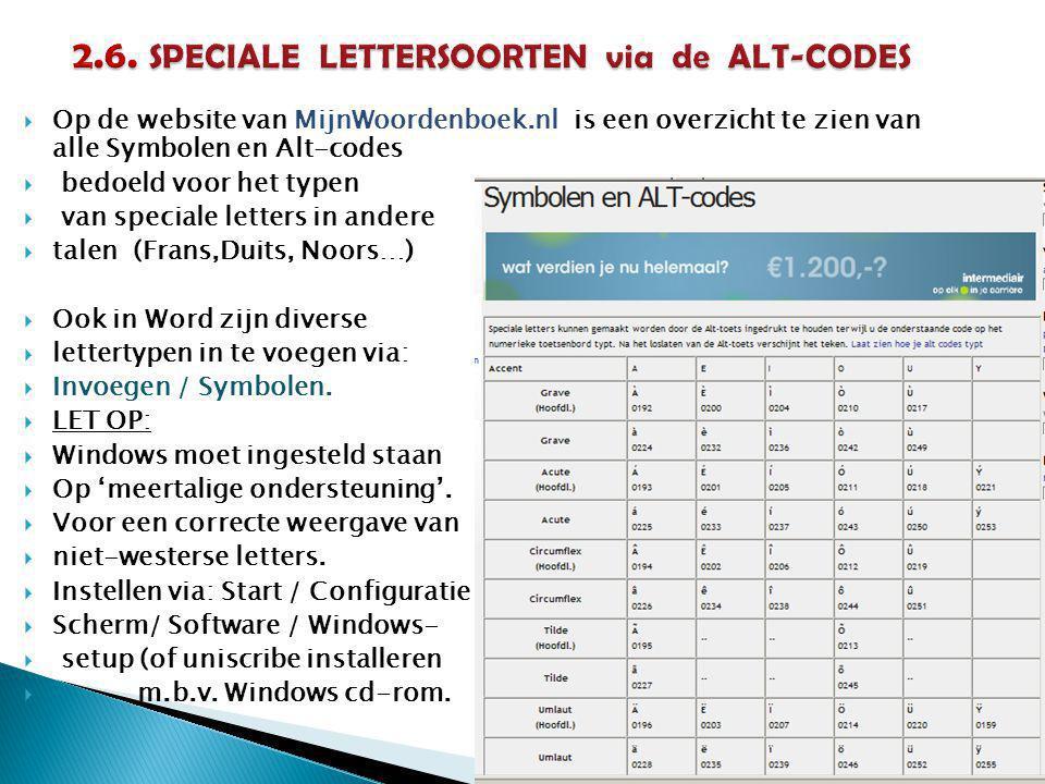 2.6. SPECIALE LETTERSOORTEN via de ALT-CODES