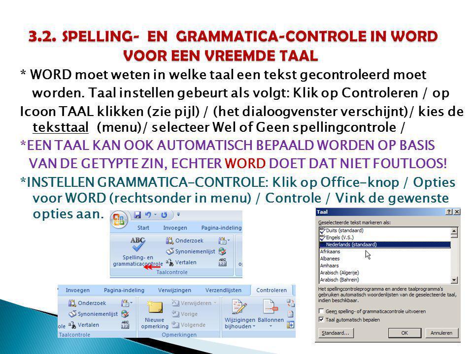 3.2. SPELLING- EN GRAMMATICA-CONTROLE IN WORD VOOR EEN VREEMDE TAAL