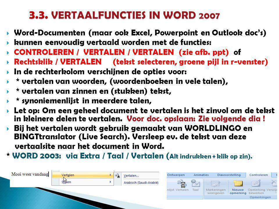 3.3. VERTAALFUNCTIES IN WORD 2007