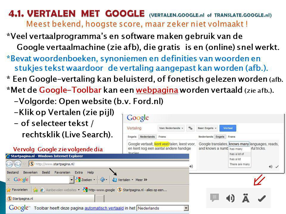4. 1. VERTALEN MET GOOGLE (VERTALEN. GOOGLE. nl of TRANSLATE. GOOGLE