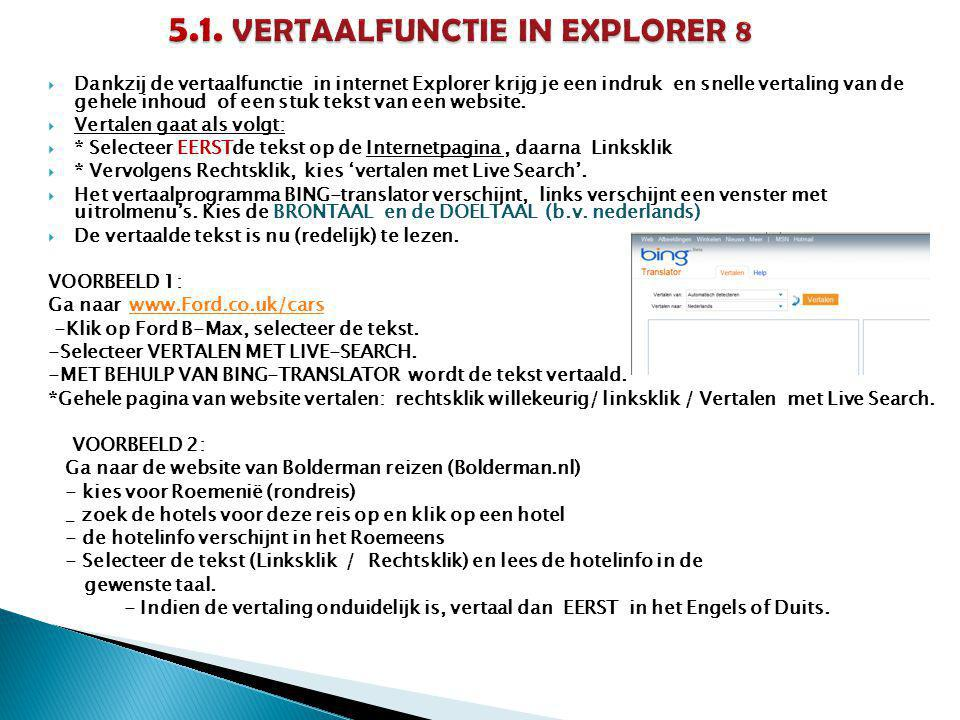5.1. VERTAALFUNCTIE IN EXPLORER 8
