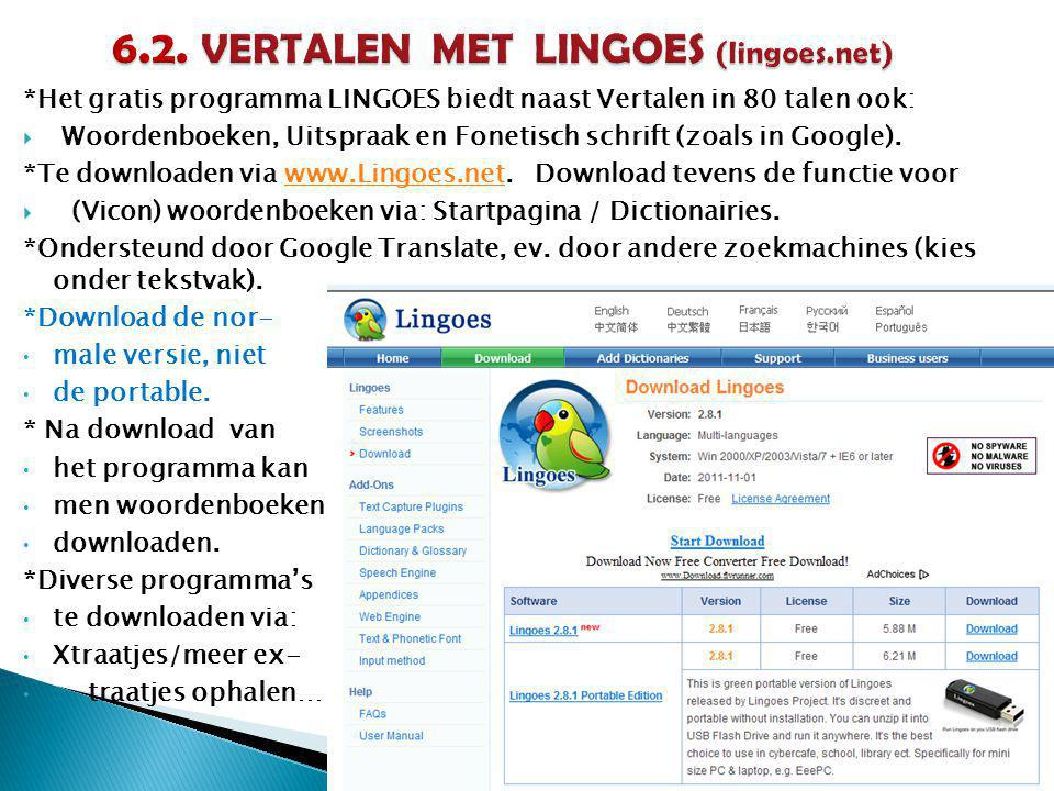 6.2. VERTALEN MET LINGOES (lingoes.net)