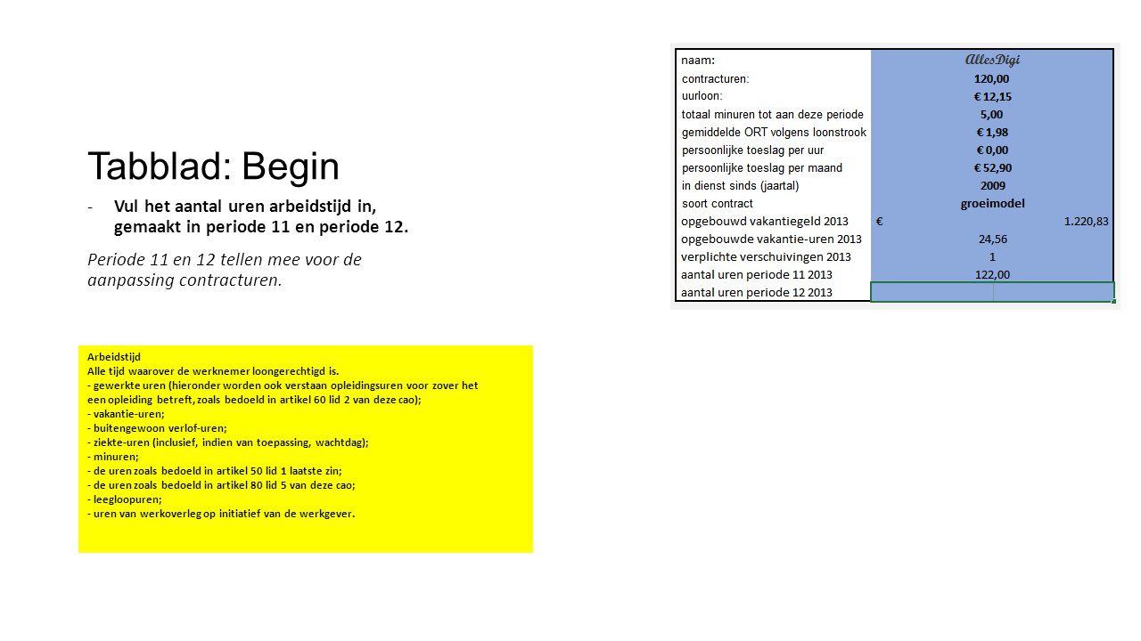 Tabblad: Begin Vul het aantal uren arbeidstijd in, gemaakt in periode 11 en periode 12.