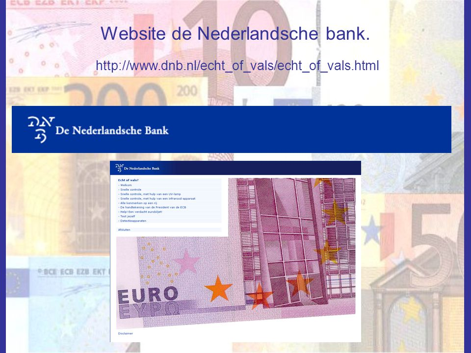 Website de Nederlandsche bank.