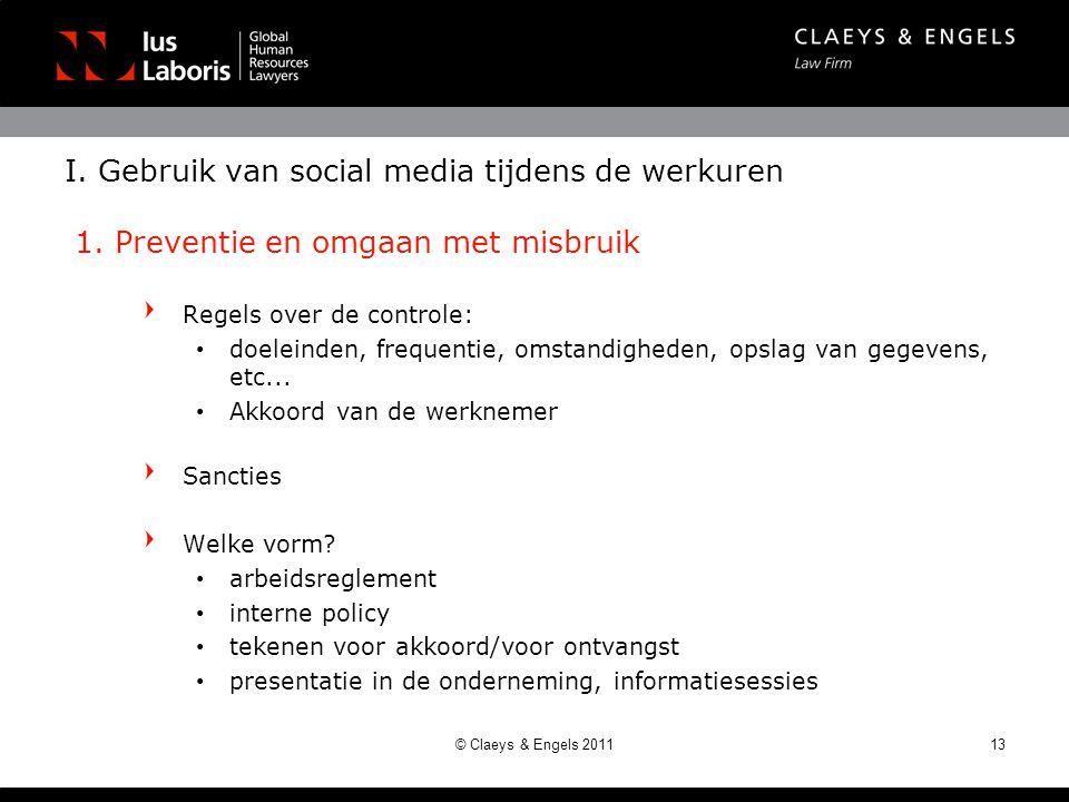 I. Gebruik van social media tijdens de werkuren 1