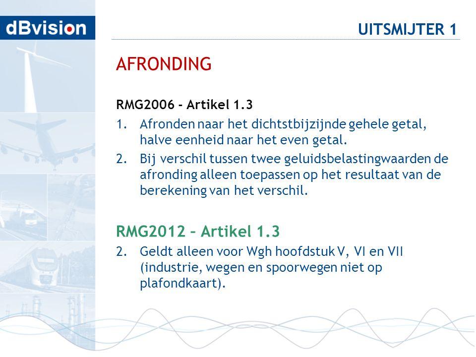 AFRONDING UITSMIJTER 1 RMG2012 – Artikel 1.3 RMG2006 - Artikel 1.3