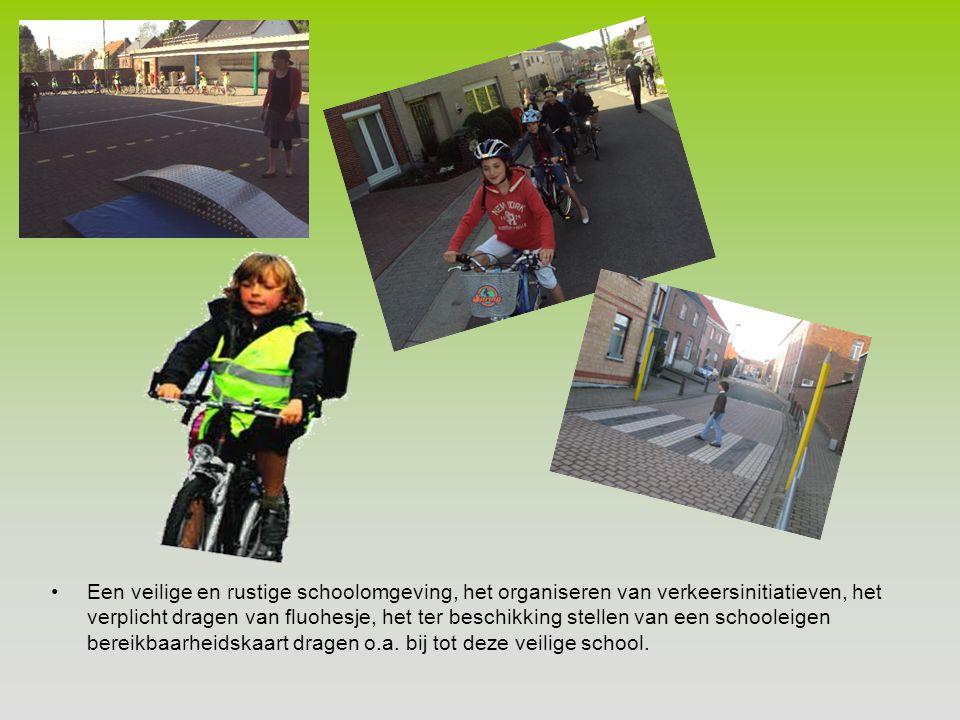 Een veilige en rustige schoolomgeving, het organiseren van verkeersinitiatieven, het verplicht dragen van fluohesje, het ter beschikking stellen van een schooleigen bereikbaarheidskaart dragen o.a.