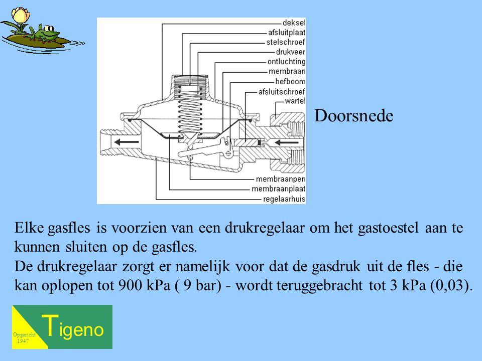 Doorsnede Elke gasfles is voorzien van een drukregelaar om het gastoestel aan te kunnen sluiten op de gasfles.