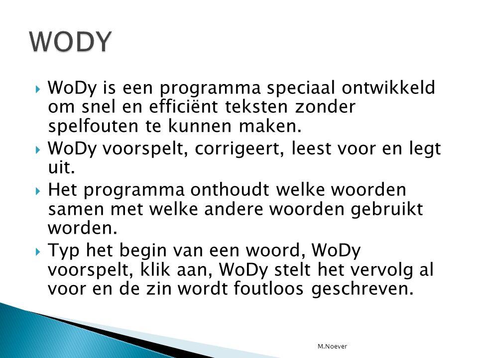 WODY WoDy is een programma speciaal ontwikkeld om snel en efficiënt teksten zonder spelfouten te kunnen maken.