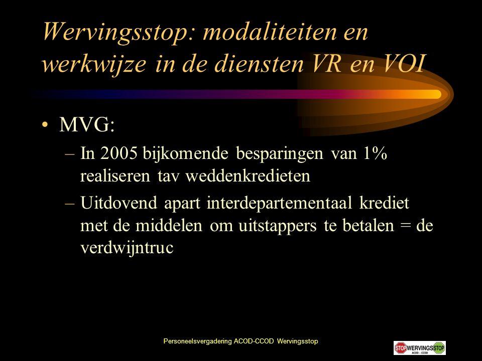 Wervingsstop: modaliteiten en werkwijze in de diensten VR en VOI