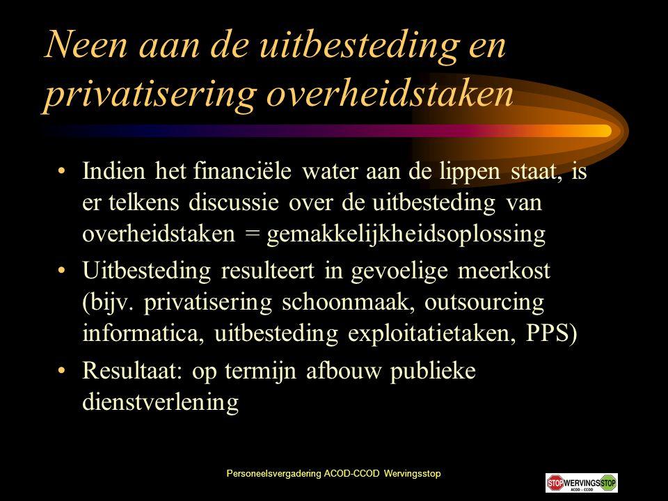 Neen aan de uitbesteding en privatisering overheidstaken