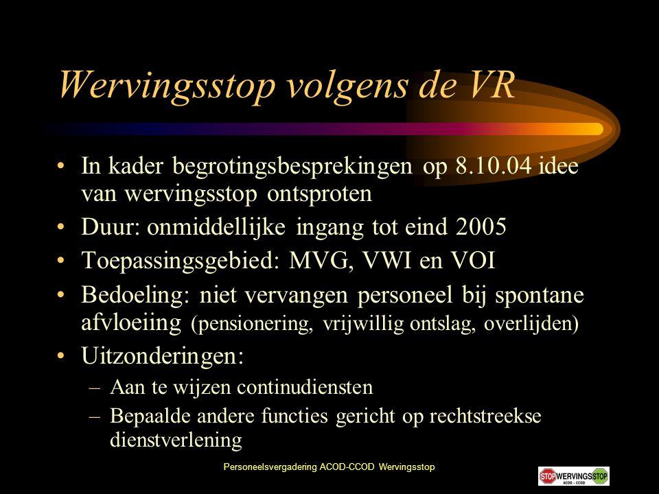 Wervingsstop volgens de VR