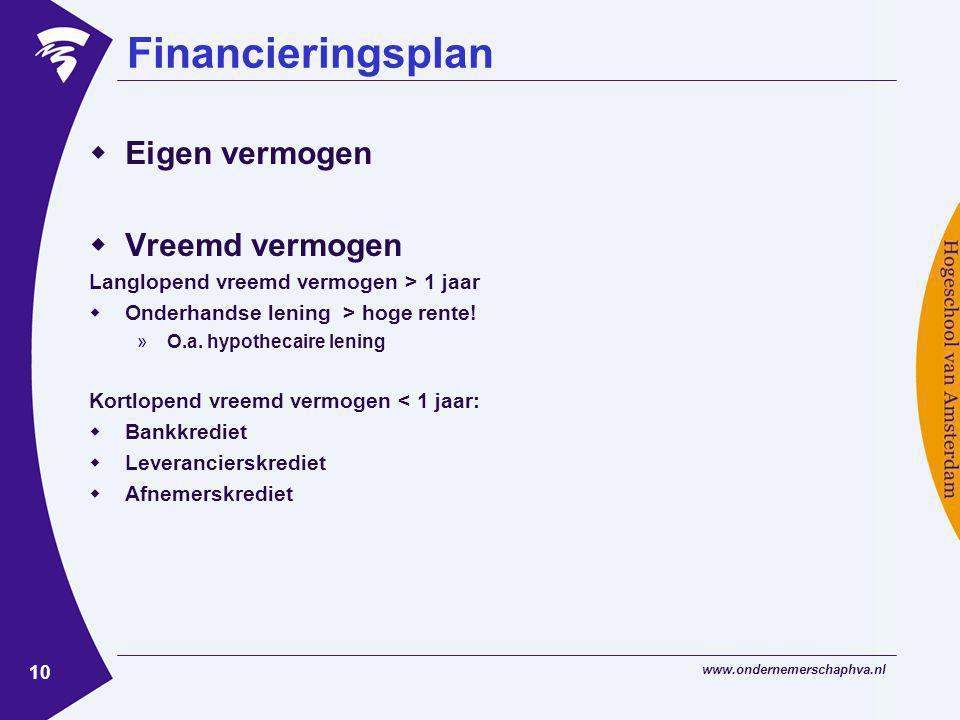 Financieringsplan Eigen vermogen Vreemd vermogen