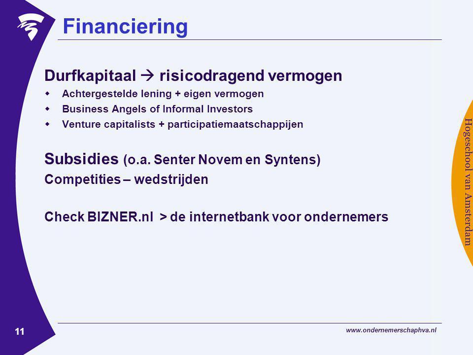 Financiering Durfkapitaal  risicodragend vermogen