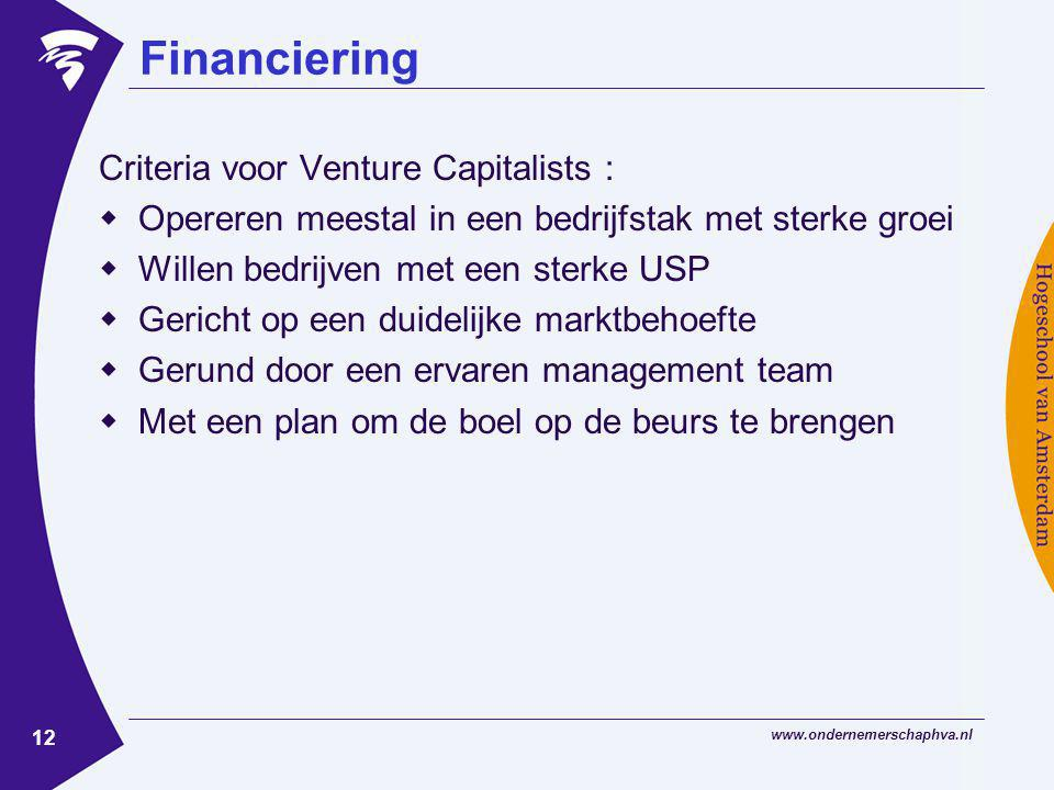 Financiering Criteria voor Venture Capitalists :