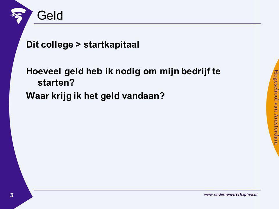 Geld Dit college > startkapitaal