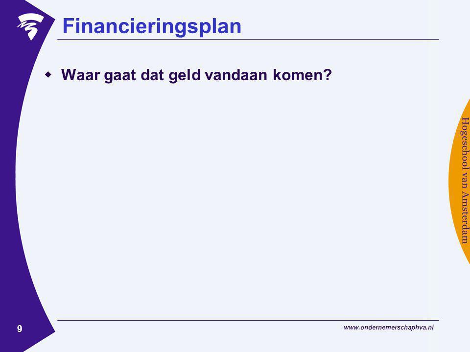 Financieringsplan Waar gaat dat geld vandaan komen