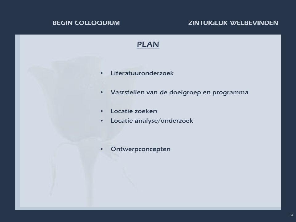 PLAN Literatuuronderzoek Vaststellen van de doelgroep en programma