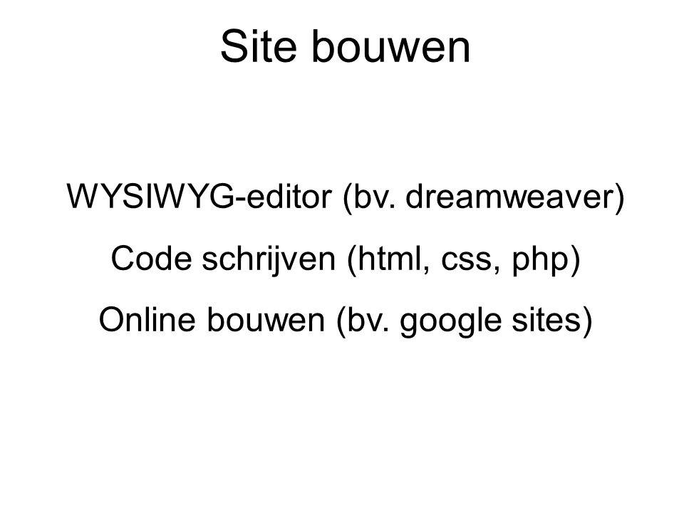 Site bouwen WYSIWYG-editor (bv. dreamweaver)