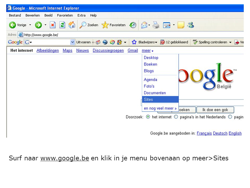Surf naar www.google.be en klik in je menu bovenaan op meer>Sites