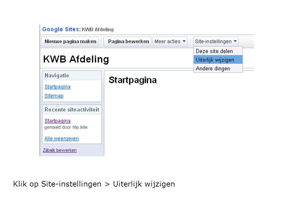 Klik op Site-instellingen > Uiterlijk wijzigen