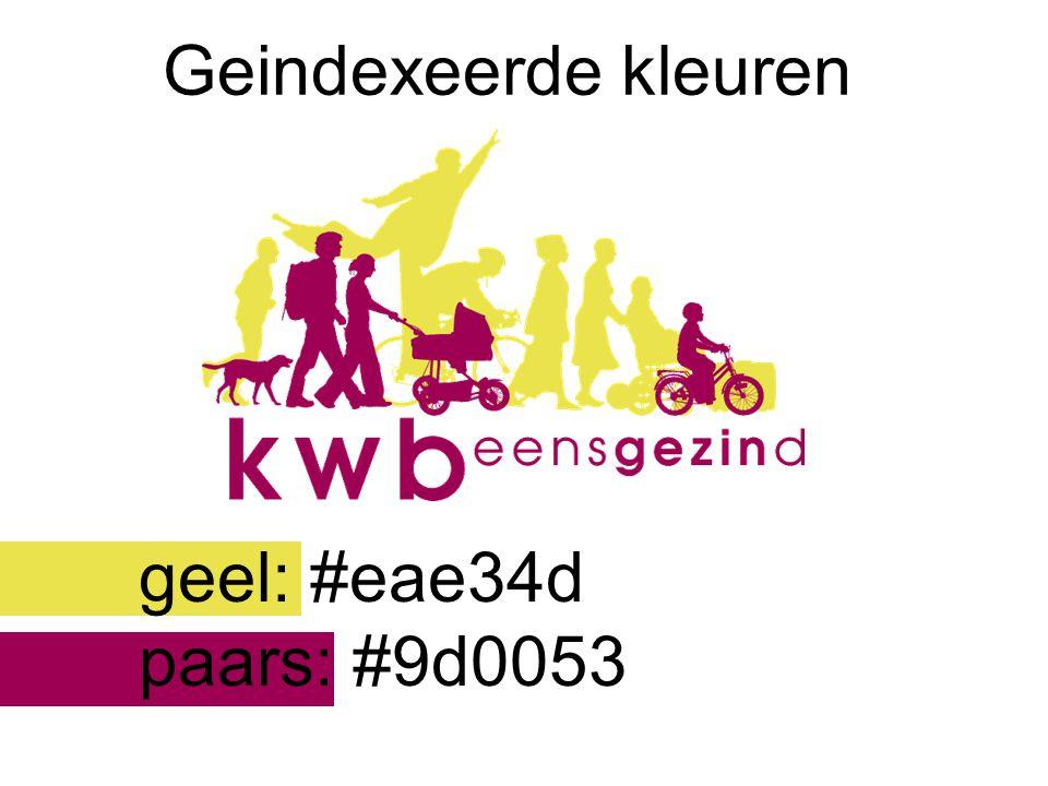 Geindexeerde kleuren geel: #eae34d paars: #9d0053