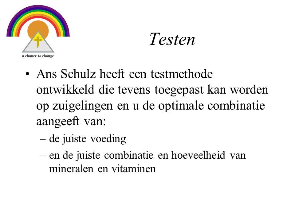 Testen Ans Schulz heeft een testmethode ontwikkeld die tevens toegepast kan worden op zuigelingen en u de optimale combinatie aangeeft van: