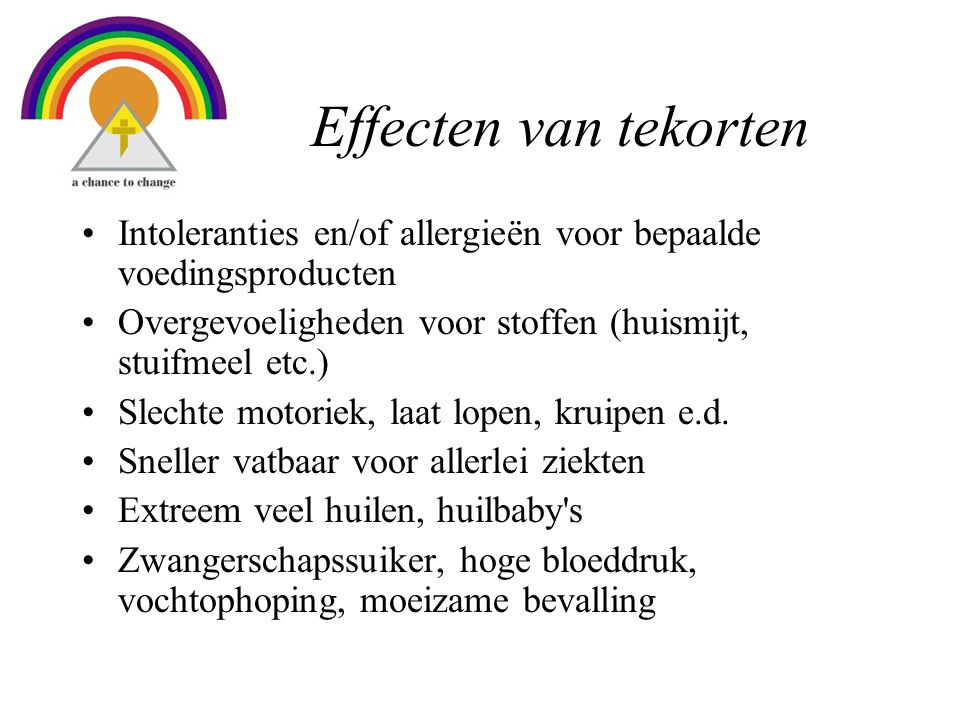 Effecten van tekorten Intoleranties en/of allergieën voor bepaalde voedingsproducten. Overgevoeligheden voor stoffen (huismijt, stuifmeel etc.)