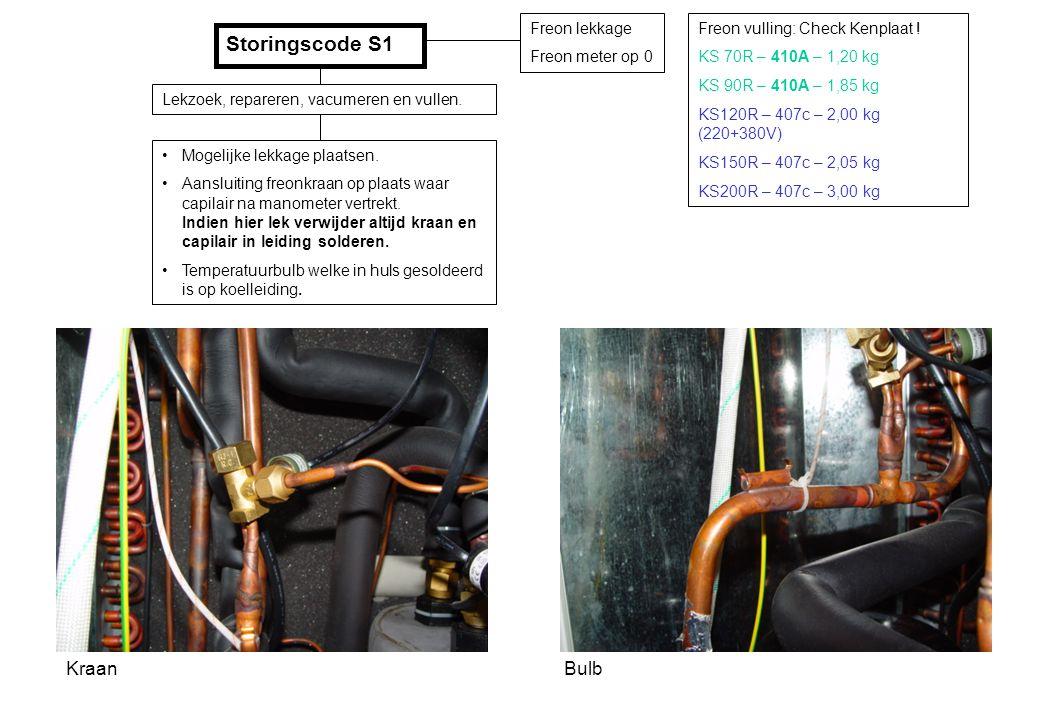 Storingscode S1 Kraan Bulb Freon lekkage Freon meter op 0