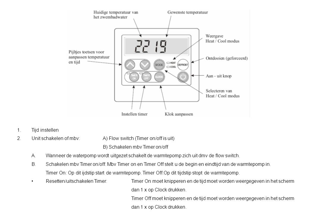 Tijd instellen Unit schakelen of mbv: A) Flow switch (Timer on/off is uit) B) Schakelen mbv Timer on/off.