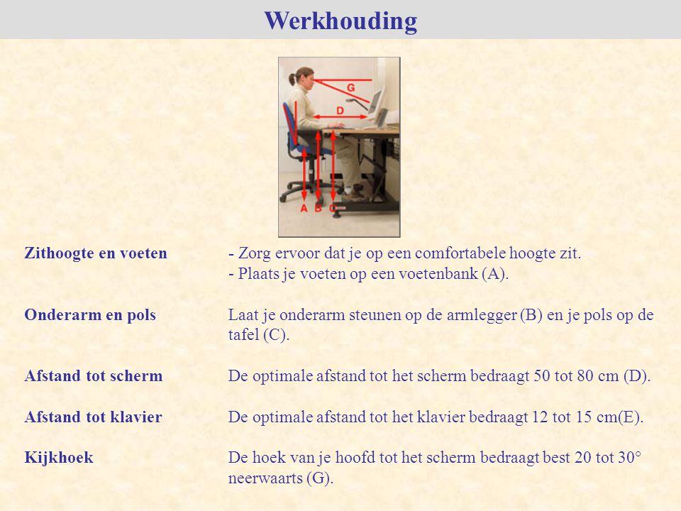 Werkhouding Zithoogte en voeten - Zorg ervoor dat je op een comfortabele hoogte zit. - Plaats je voeten op een voetenbank (A).