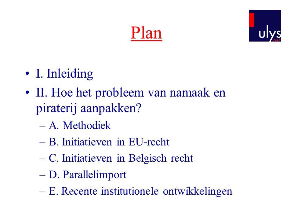 Plan I. Inleiding. II. Hoe het probleem van namaak en piraterij aanpakken A. Methodiek. B. Initiatieven in EU-recht.