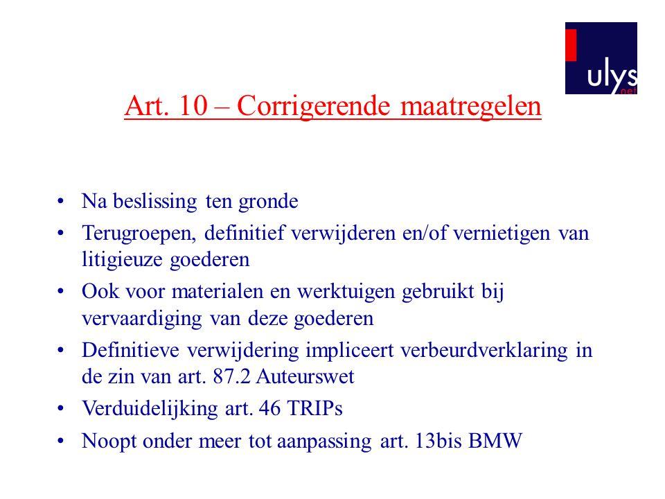 Art. 10 – Corrigerende maatregelen