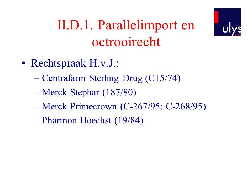 II.D.1. Parallelimport en octrooirecht