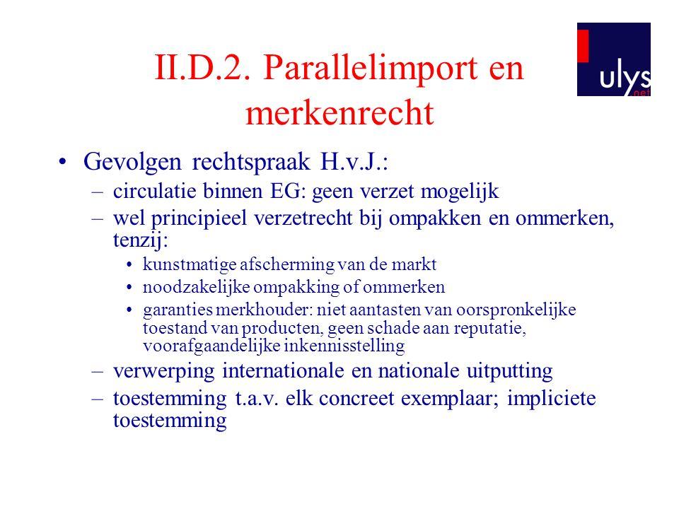 II.D.2. Parallelimport en merkenrecht